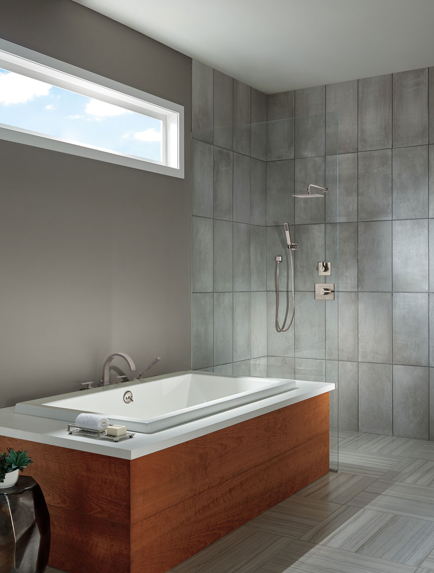 Delta Vero Stainless Steel Finish Shower System with Handheld Wand and Large Modern Showerhead