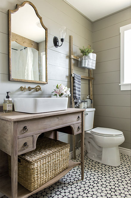 Modern Farmhouse Design with Gold Wall Mount Faucet