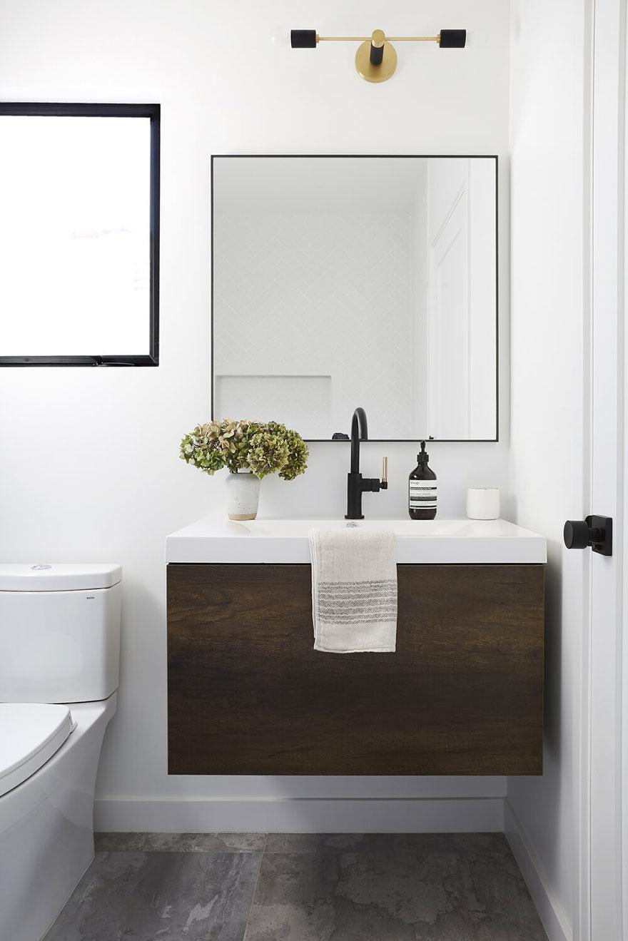 Black Single Handle Bathroom Faucet with Floating Vanity