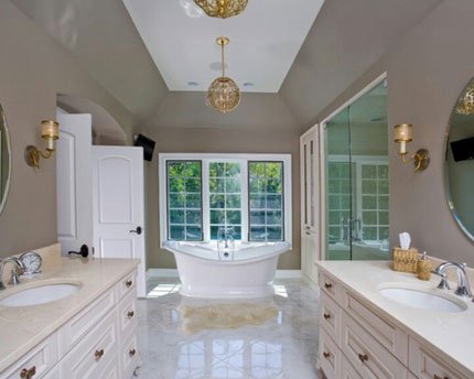 Gold Bathroom Light Fixtures with Freestanding Tub