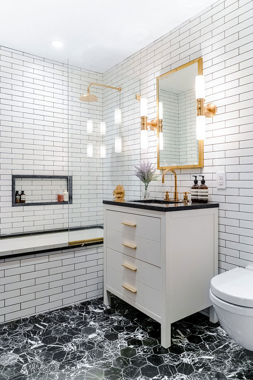 Gold Widespread Faucet with Gold Rain Shower Faucet