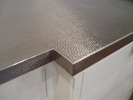 Hammered Stainless Steel Countertop Close-up