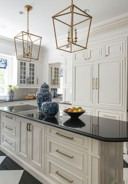 Kitchen with Brushed Gold Light Fixtures with Black Countertops