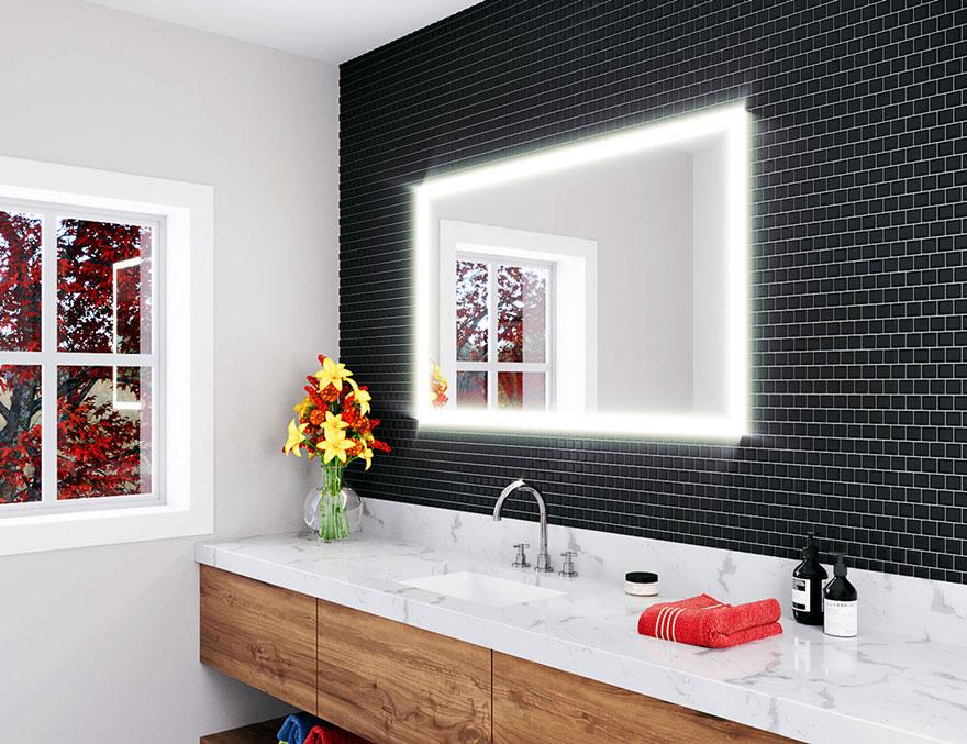 Large Backlit Bathroom Mirror