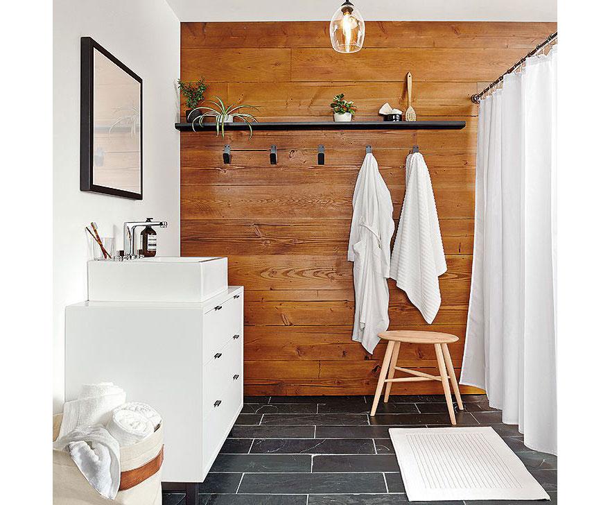 Wood Panel Bathroom Accent Wall