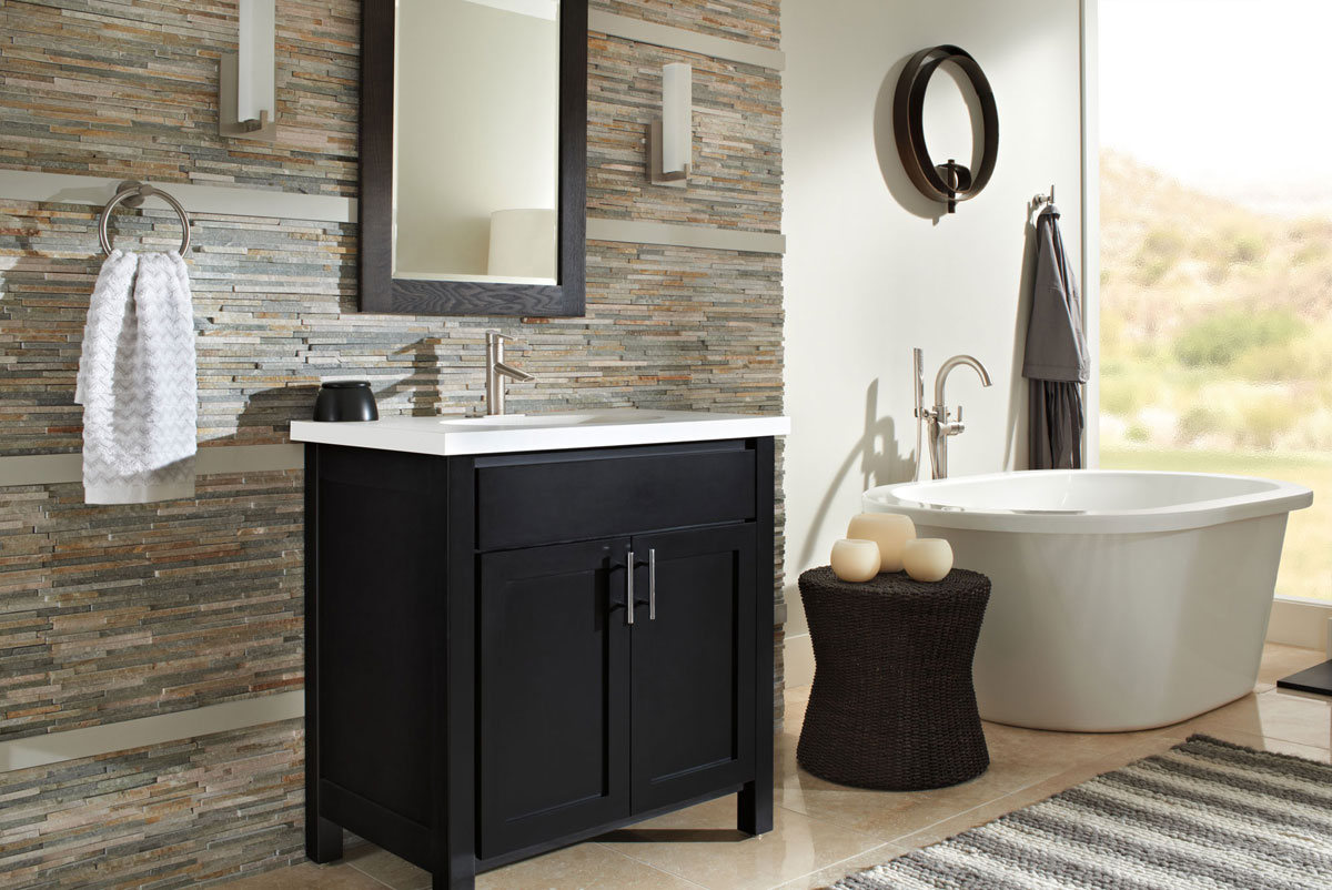 Modern Bathroom Design with Stainless Steel Fixtures and Pedestal Tub