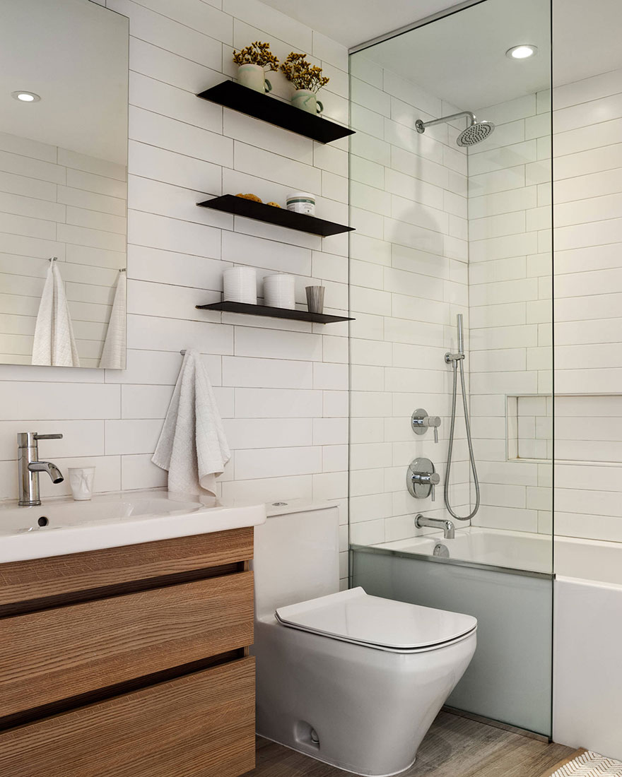 Modern Chrome Shower System and Single Hole Faucet