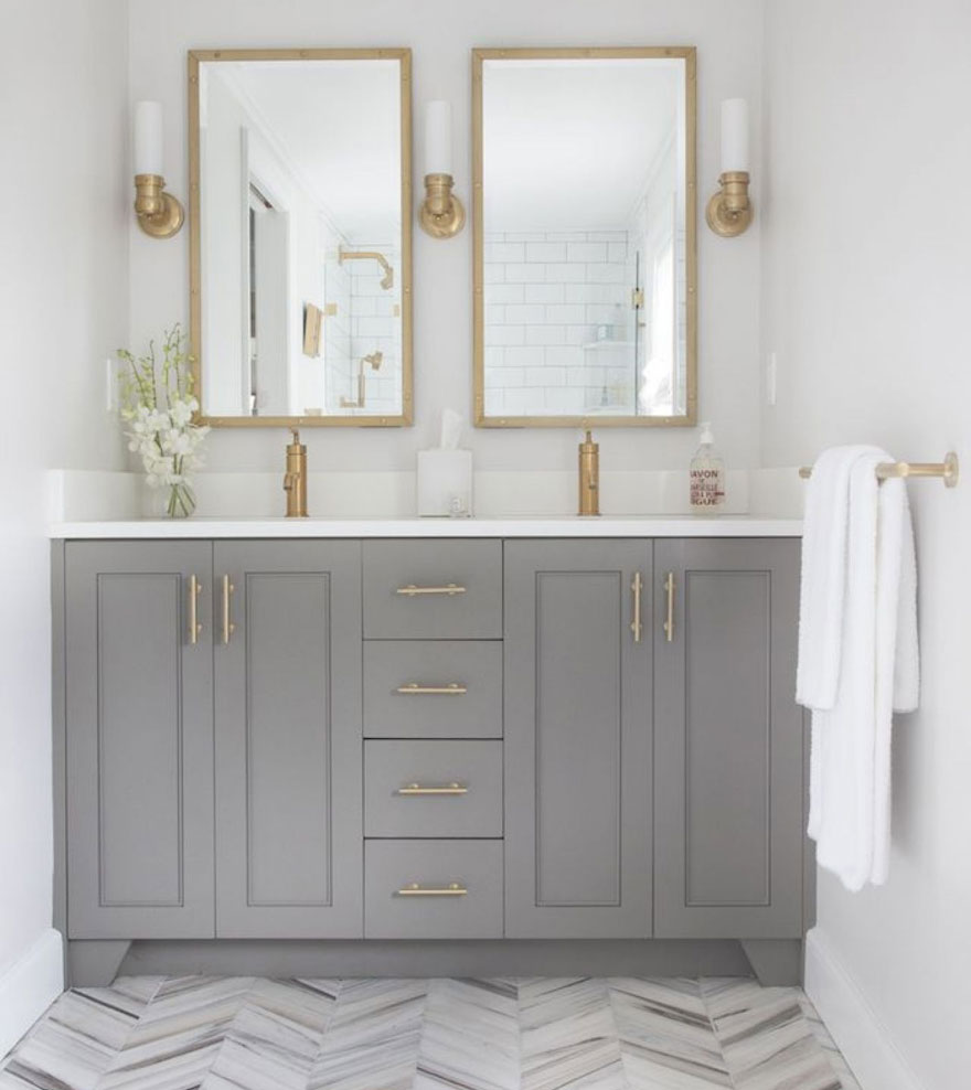 Modern Gold with Grey Bathroom Vanity