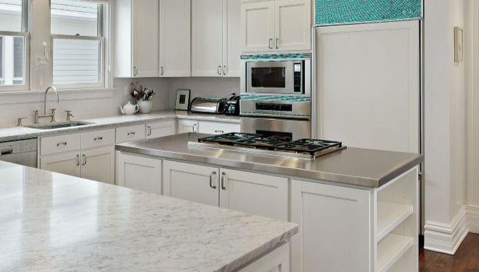 Modern Kitchen Design with Hammered Stainless Steel Countertop