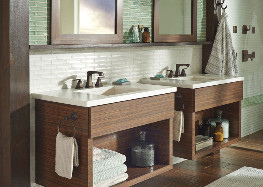 Modern White and Green Tile with Delta Venetian Bronze Widespread Faucets and Double Vanity