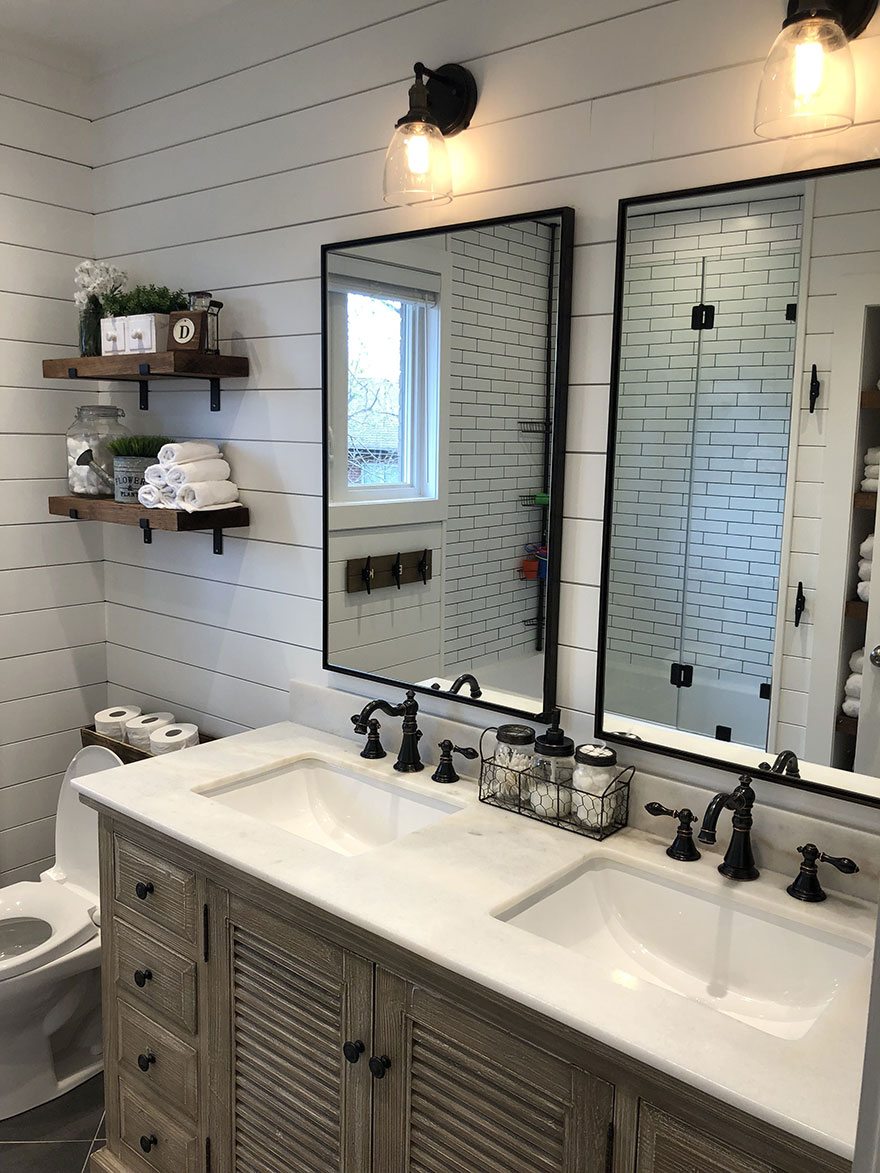 Farmhouse Bathroom with Shiplap Accent Walls