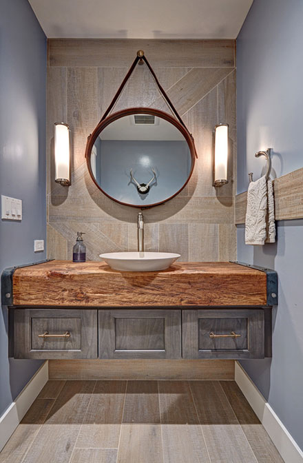 Rustic Floating Vanity with Vessel Sink and Stainless Steel Finish Faucet