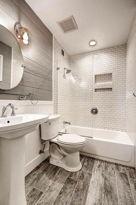 Rustic Farmhouse Minimalist Bathroom with Chrome Finish Fixtures