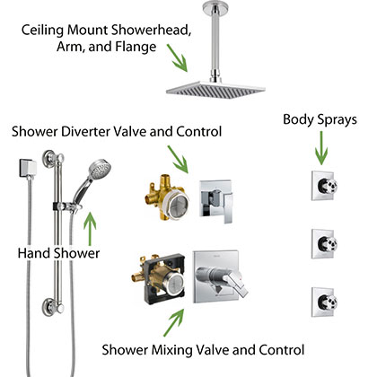 Parts of a Shower Systems with Body Sprays, Ceiling Mount Showerhead, and Hand Shower