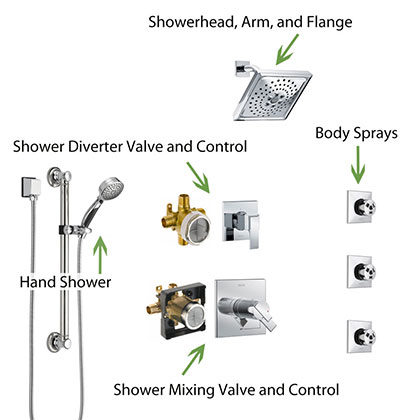 Parts of a Shower System with Body Sprays, Showerhead, and Hand Shower