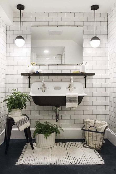 Farmhouse Small Bathroom with Black Cast Iron Sink