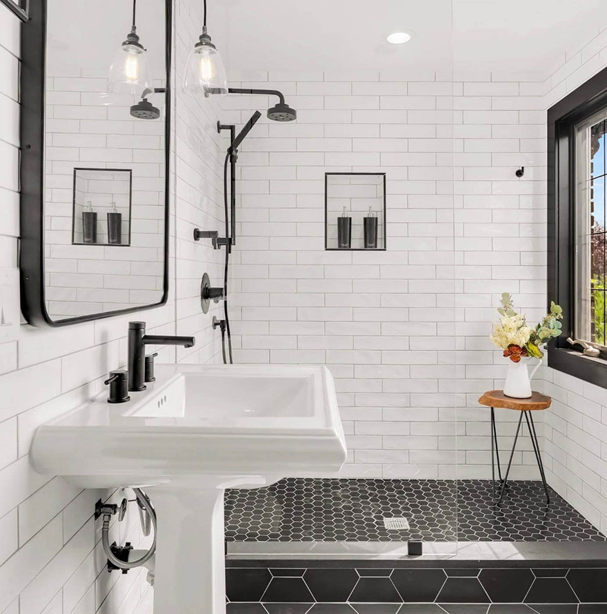 Traditional Minimalist Tiled Bathroom with Matte Black Shower System and Widespread Faucet