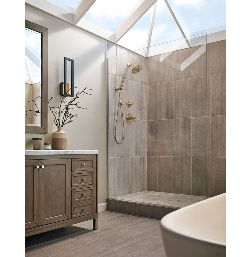 Delta Trinsic Champagne Bronze Shower System with Dual Thermostatic Control Handle, Diverter, Showerhead, and Hand Shower SS17T2592CZ3