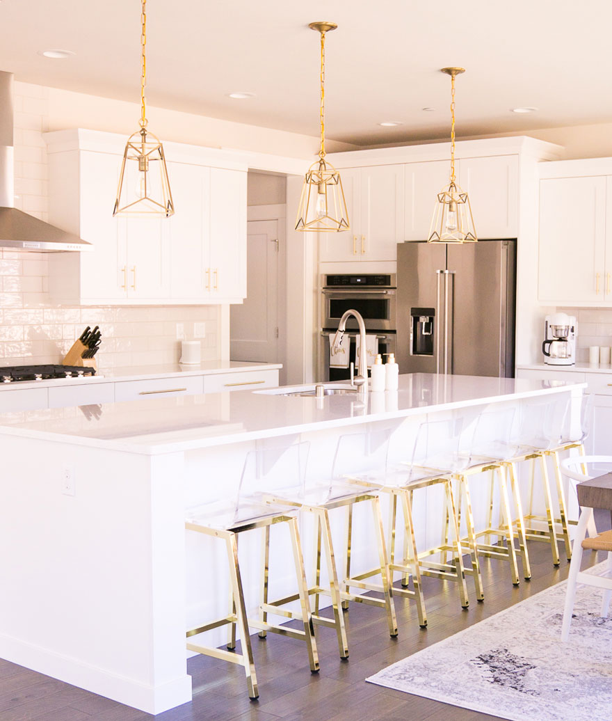 White and Gold Kitchen Lantern Pendants Lights Acrylic Bar Stools