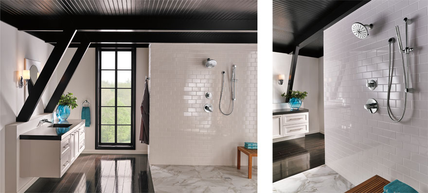 Dark Wood and White Subway Tile Bathroom with Stainless Steel Finish Shower System with Hand Shower