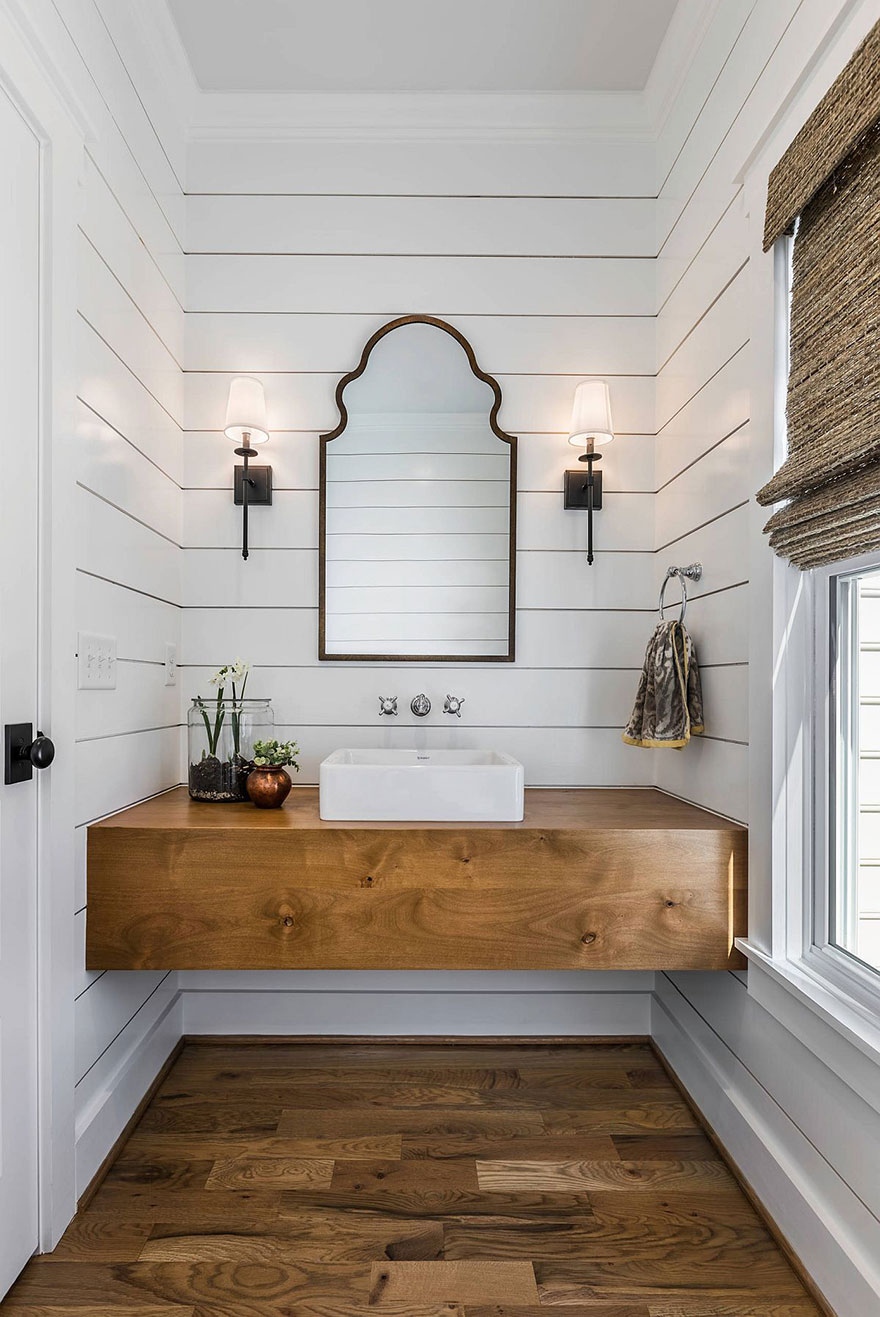 Farmhouse Bathroom with Floating Vanity and Chrome Finish Wall Mount Faucet
