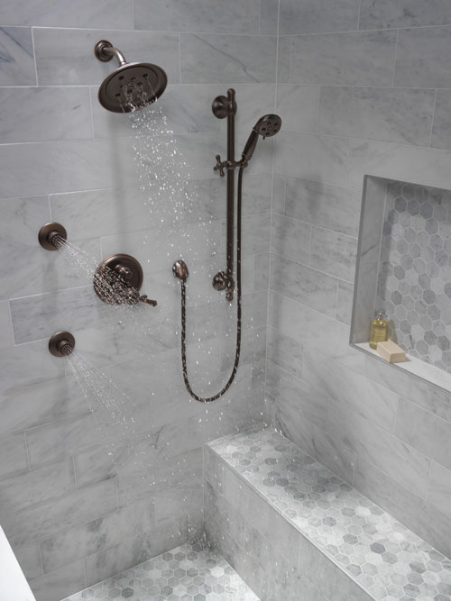 Shower System with Showerhead and Body Sprays on