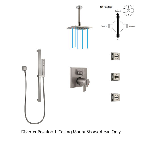 Shower Diverter Position 1: Ceiling Mount Showerhead Only