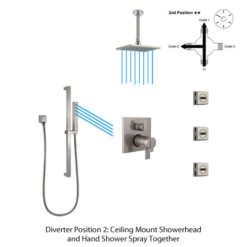 Shower Diverter Position 2: Ceiling Mount Showerhead and Hand Shower Spray Together