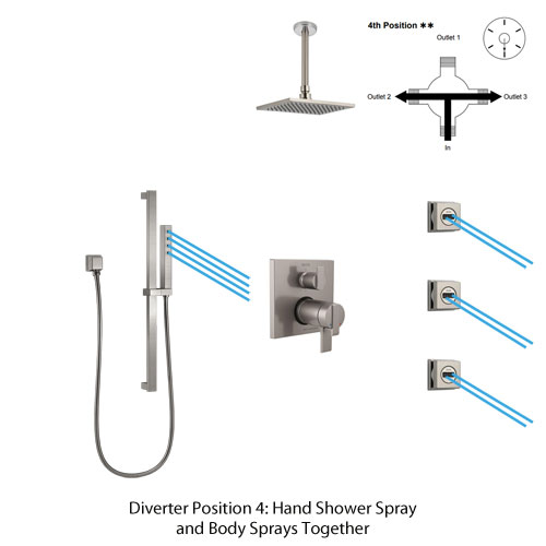 Shower Diverter Position 4: Hand Shower Spray And Body Sprays Together