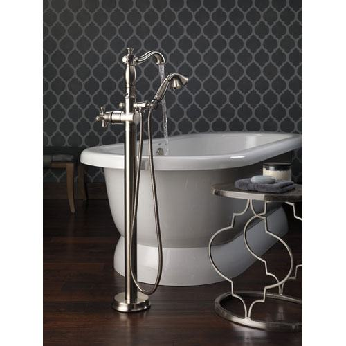Delta Traditional Stainless Steel Finish Floor Mount Tub Filler Faucet with Hand Shower Spray INCLUDES Valve and Metal Cross Handle D1067V