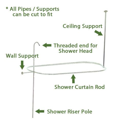 Clawfoot Tub Shower Curtain Rod and Shower Riser