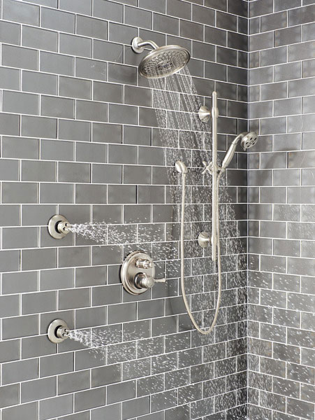 Delta Shower System with HydraChoice Body Sprays, Showerhead, and Hand Shower