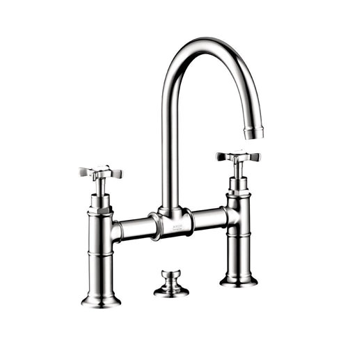 Axor Montreux 2-Handle Kitchen Bridge Faucet in Chrome with Cross Handles 154885