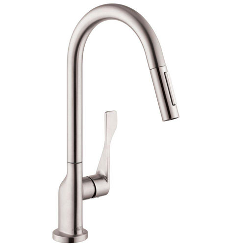 Axor Citterio Single-Handle Pull-Out Sprayer Kitchen Faucet in Steel Optik 460606