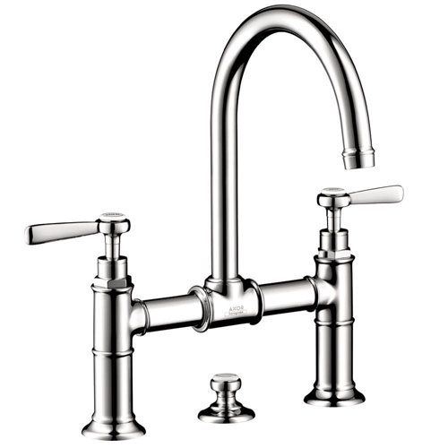 Axor Montreux 8 inch Widespread 2-Handle Mid Arc Bathroom Faucet in Chrome with Lever Handles 575898