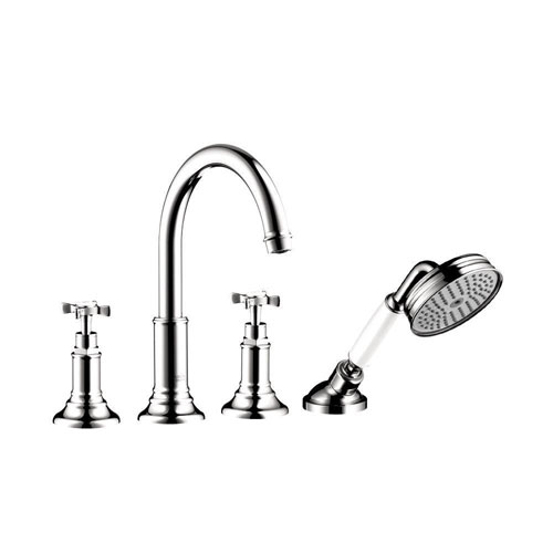 Axor Montreux Cross 2-Handle Deck-Mount Roman Tub Faucet with Handshower in Chrome 575924