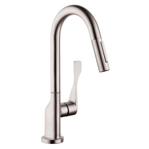 Axor Citterio Prep Single-Handle Pull-Down Sprayer Kitchen Faucet in Steel Optik 576112