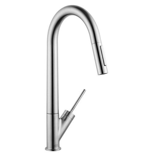 Axor Starck Single-Handle Pull-Down Sprayer Kitchen Faucet in Steel Optik 623645