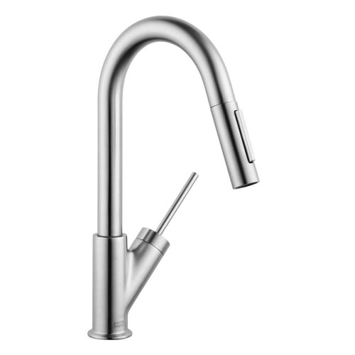 Axor Starck Prep Single-Handle Pull-Down Sprayer Kitchen Faucet in Steel Optik 623646