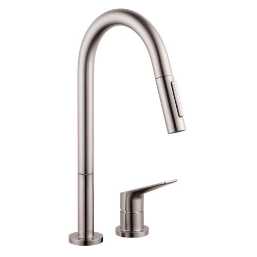 Axor Citterio M Single-Handle Pull-Down Sprayer Kitchen Faucet in Steel Optik 634860