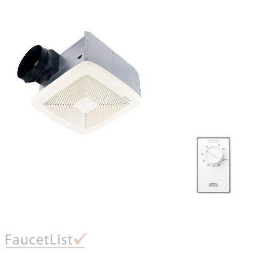 Broan QTXE110 Powerful 110 CFM Ultra Silent White Bath Ventilation Exhaust Fan INCLUDES Dehumidistat Automatic Humidity Sensing Wall Control Kit
