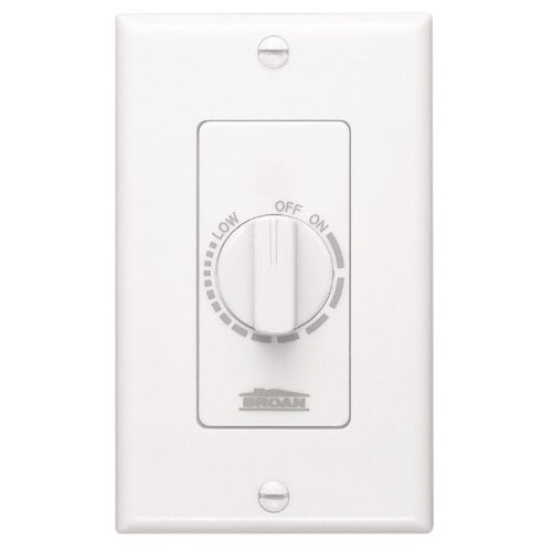 Nutone 57W Variable Speed Wall Control for Ventilation Exhaust Fans, White