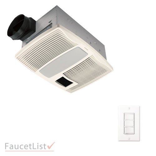 Broan QTX110HFLT Quiet Exhaust Fan With Light & Heater & 4-Function Wall Control