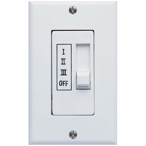 Concord Fans 3-Speed 2.5 Amp White Finish Multi Ceiling Fan Wall Slider Control