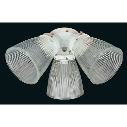 Concord Fans 3 Light White with Clear Glass Ceiling Fan Light Kit