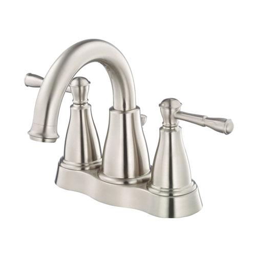 Danze Eastham Brushed Nickel Wavy Handle Centerset Bathroom Faucet w Drain