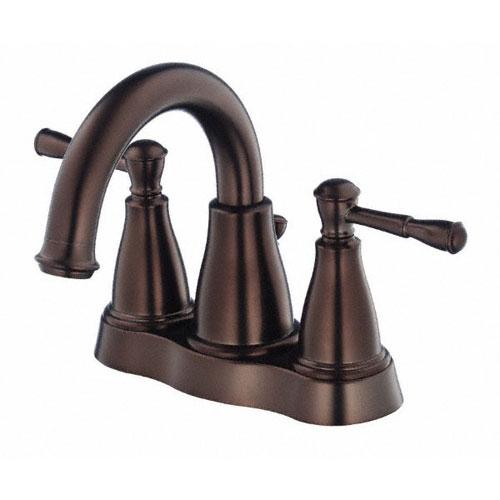 Danze Eastham Tumbled Bronze Wavy Handle Centerset Bathroom Faucet w Drain