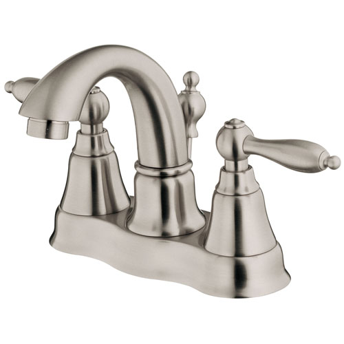 Danze Fairmont Brushed Nickel Two Handle Centerset Bathroom Faucet with Drain