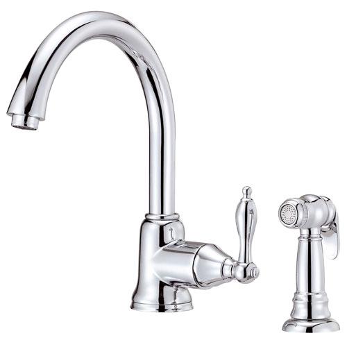 Danze Fairmont Chrome Single Handle Gooseneck Spout Kitchen Faucet with Sprayer