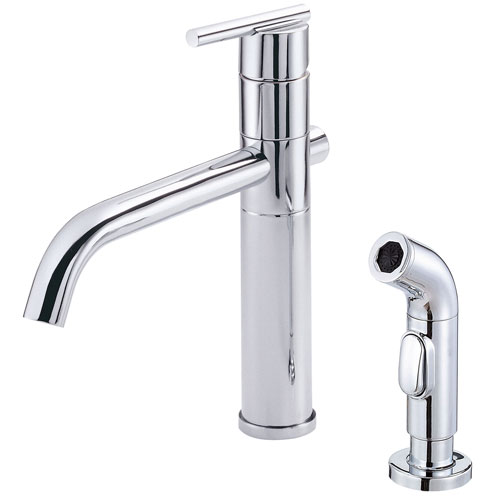 Danze Parma Chrome Cylindrical Single Handle Modern Kitchen Faucet with Sprayer